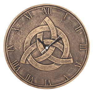 Gothic Gifts Bronzed Effect Triquetra Wall Clock - Kate's Clothing