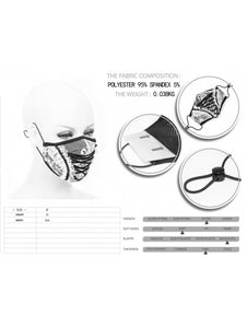 Devil Fashion White Lace Effect Face Mask With Filter - Kate's Clothing
