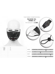 Devil Fashion Barbell & Ruffled Effect Face Mask With Filter - Kate's Clothing