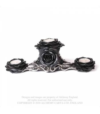 Alchemy Gothic Black Rose Triple Moon T-Light Holder - Kate's Clothing