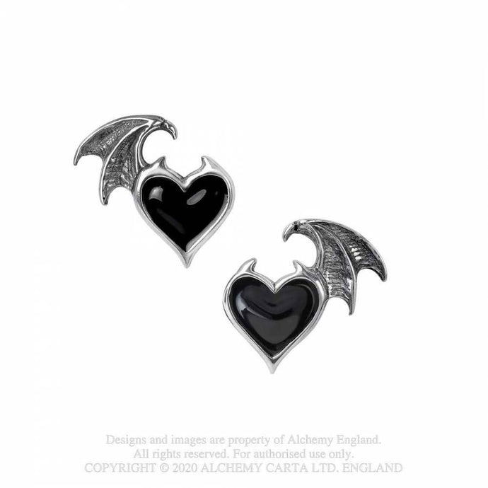 Alchemy Gothic Blacksoul Stud Earrings - Kate's Clothing