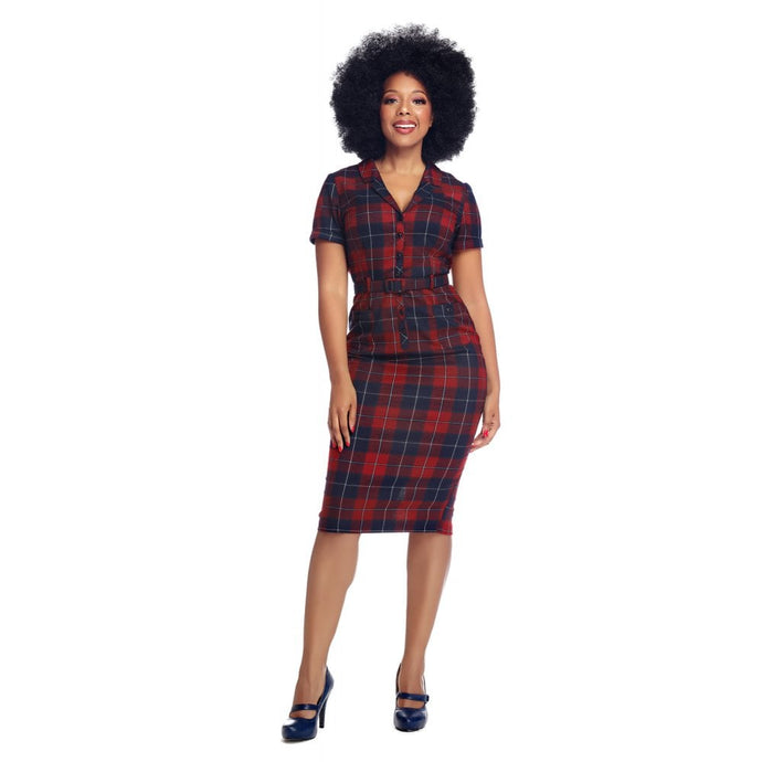 Collectif Plus Size Caterina Ginsburg Check Pencil Dress - Kate's Clothing