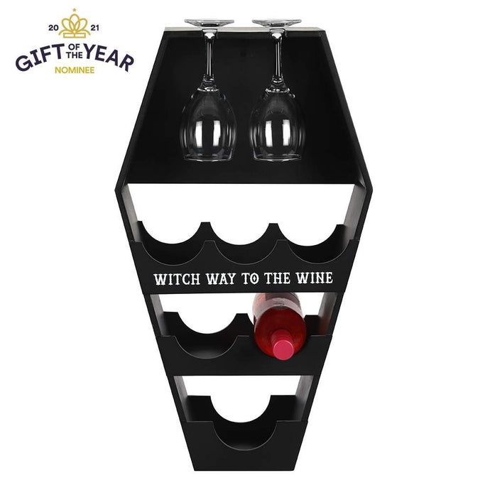 Gothic Gifts Coffin Witch Way to Wine Shelf - Kate's Clothing