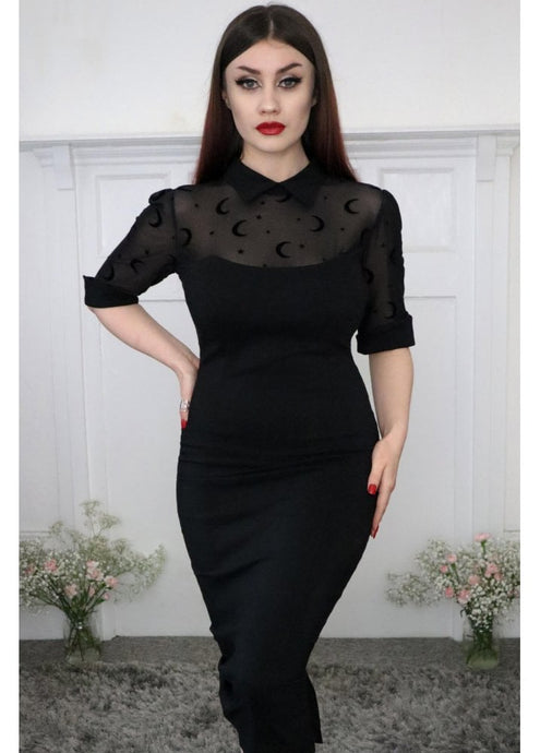Collectif Wednesday Moon Flock Mesh Pencil Dress - Kate's Clothing