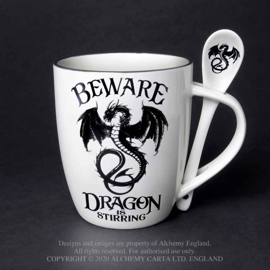 Alchemy Gothic Dragon Is Stirring: Mug and Spoon Set - Kate's Clothing