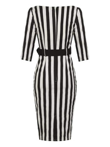 Collectif Plus Size Eliana Striped Pencil Dress - Kate's Clothing