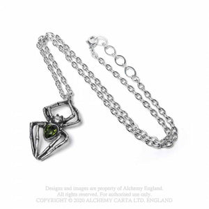 Alchemy Gothic Emerald Spiderling Pendant - Kate's Clothing