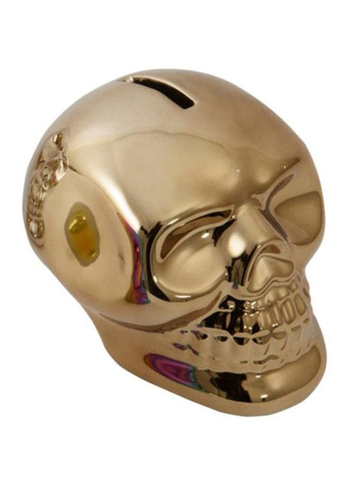 Gothic Gifts Metallic Skull Money Box - Gold