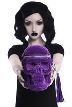 Load image into Gallery viewer, Killstar Grave Digger Plum Velvet Skull Handbag - Kate's Clothing