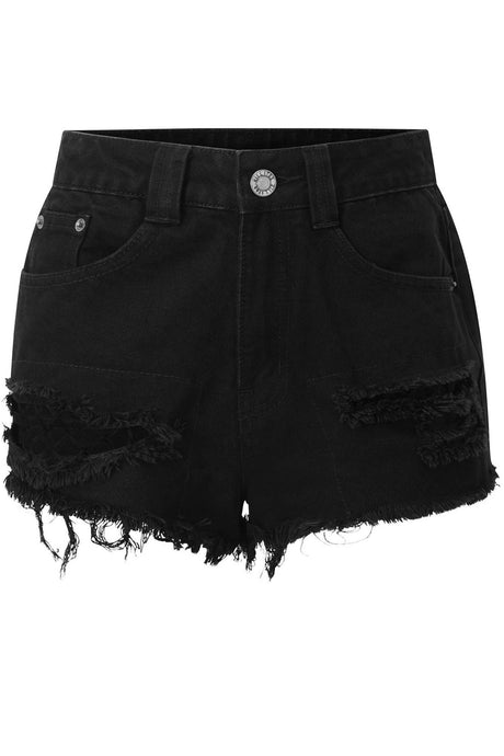 Killstar Plus Size Zoey Denim Shorts - Kate's Clothing