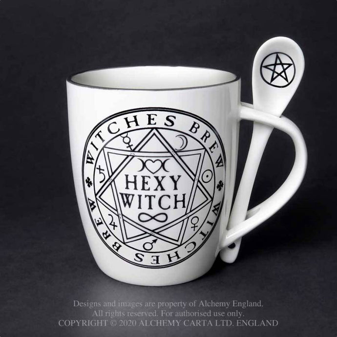 Alchemy Gothic Hexy Witch Mug and Spoon Set - Kate's Clothing