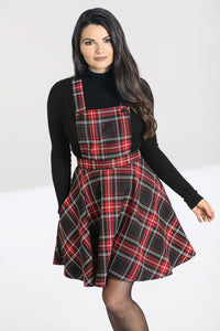 Hell Bunny Plus Size Islay Red Tartan Pinafore Dress - Kate's Clothing