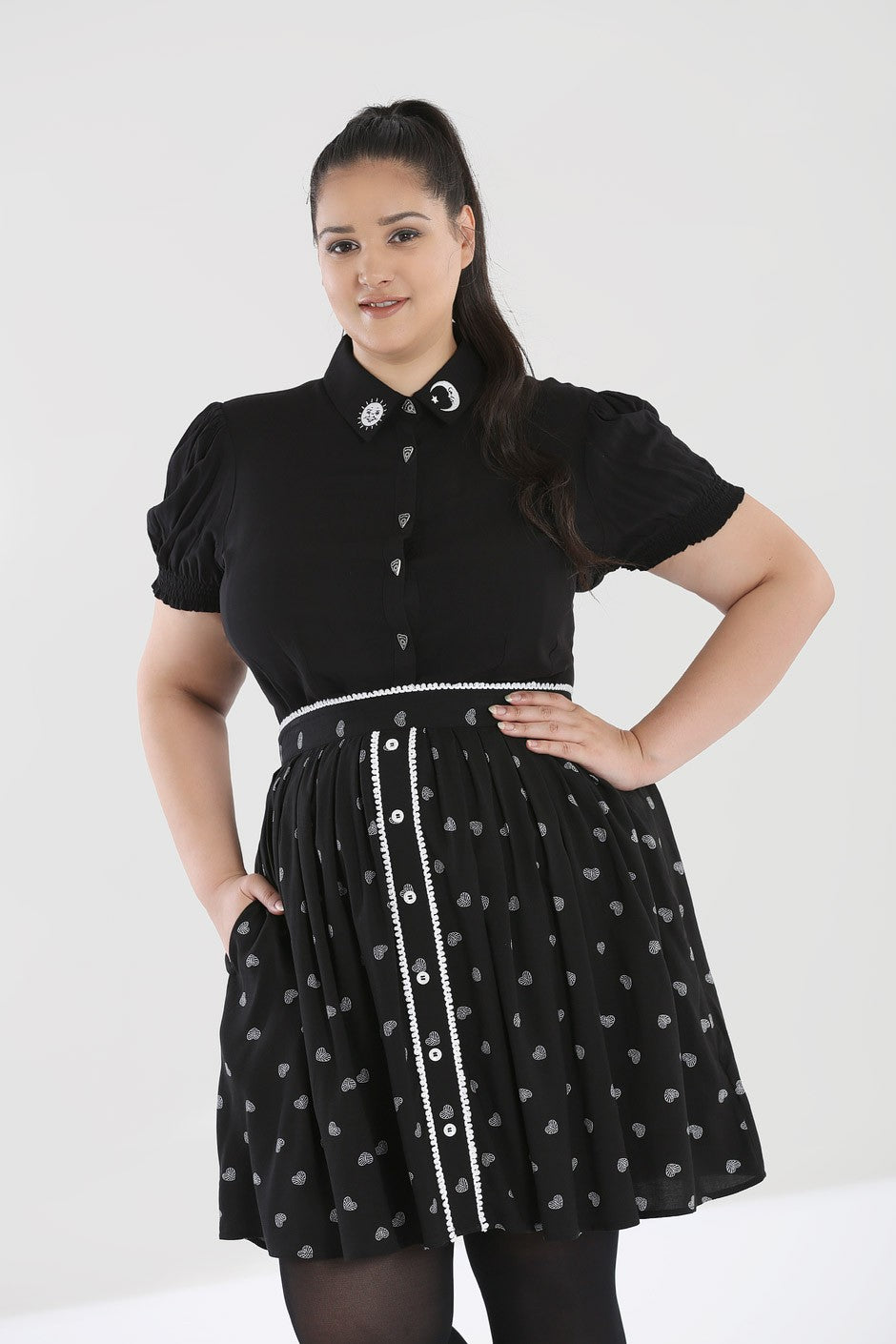 Hell Bunny Plus Size Ribcage Mini Skirt