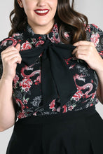 Load image into Gallery viewer, Hell Bunny Plus Size Mushu Chiffon Blouse - Kate's Clothing