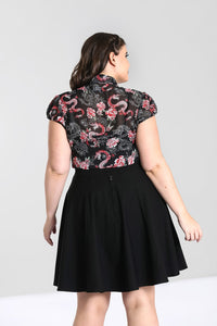 Hell Bunny Plus Size Mushu Chiffon Blouse - Kate's Clothing