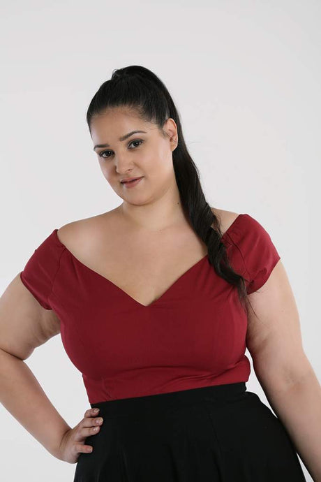 Hell Bunny Plus Size Petunia Top - Burgundy - Kate's Clothing