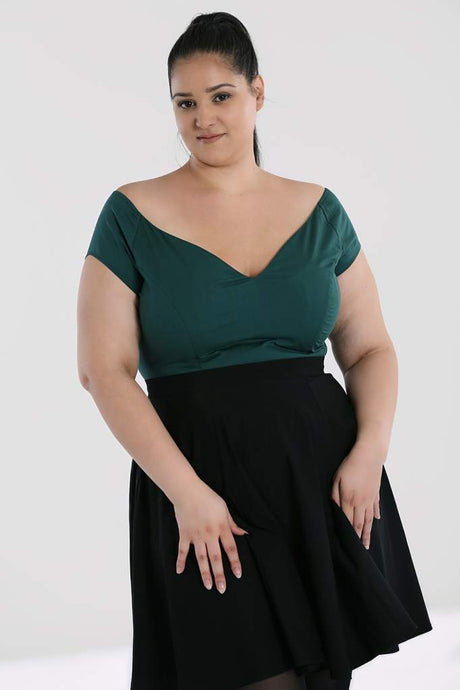 Hell Bunny Plus Size Petunia Top - Green - Kate's Clothing