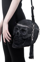 Load image into Gallery viewer, Killstar Velvet Grave Digger Skull Handbag - Kate's Clothing