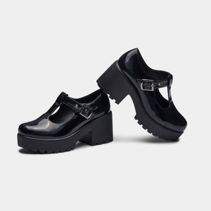 Koi Sai Black Hologram Mary Janes - Kate's Clothing