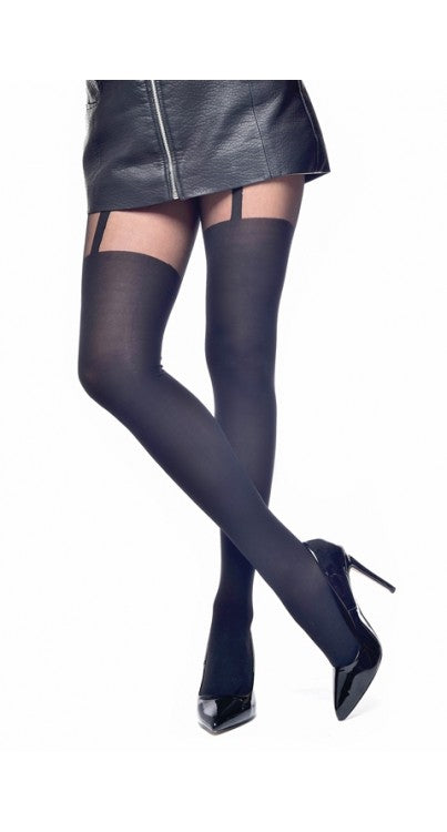 Pamela Mann Plain Stripe Suspender Tights - Kate's Clothing