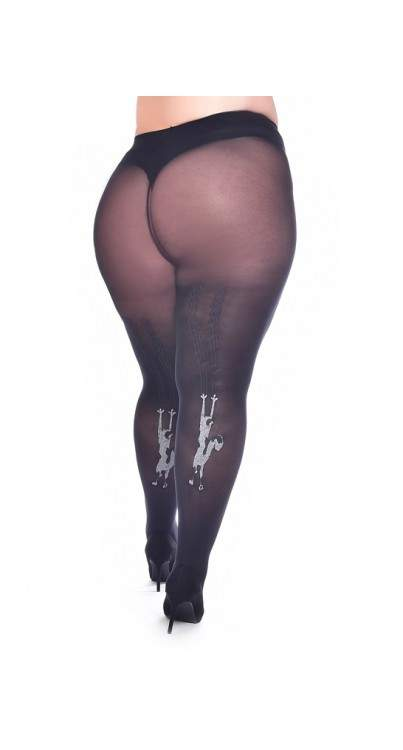 Pamela Mann Plus Size Curvy Super-Stretch Tights - Climbing Cat - Kate's Clothing