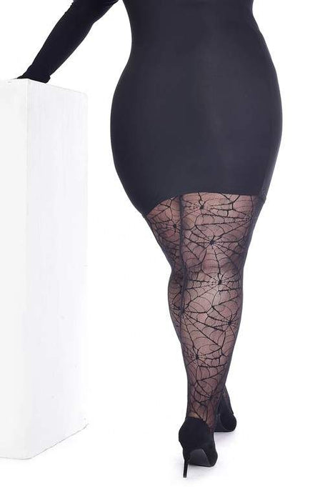 Pamela Mann Plus Size All Over Cobweb Lace Tights - Kate's Clothing