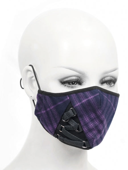 Devil Fashion Purple Tartan Face Mask With Filter - Kate's Clothing