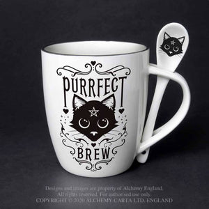 Alchemy Gothic Purrfect Brew: Mug and Spoon Set