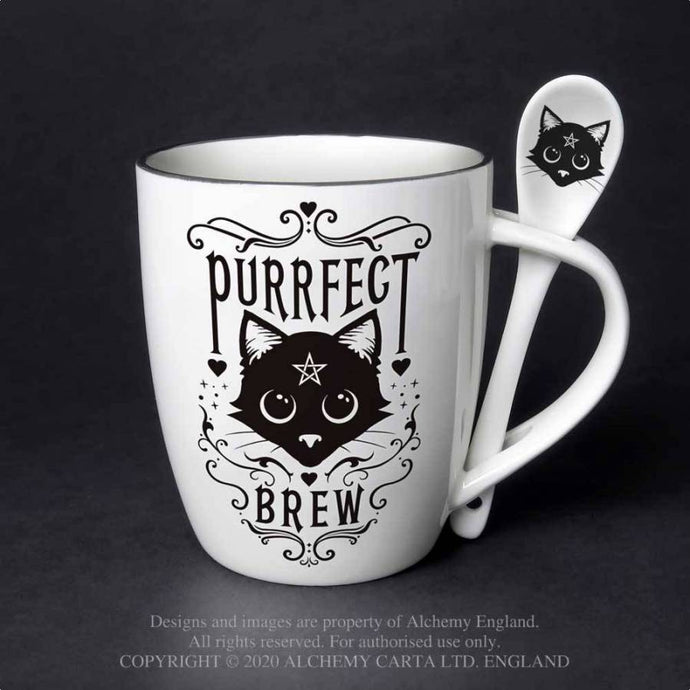 Alchemy Gothic Purrfect Brew: Mug and Spoon Set - Kate's Clothing