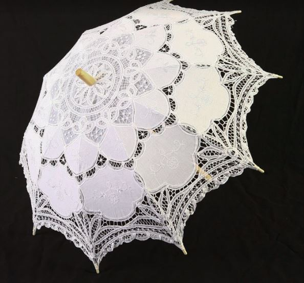 Punk Rave Lace Parasol - White - Kate's Clothing