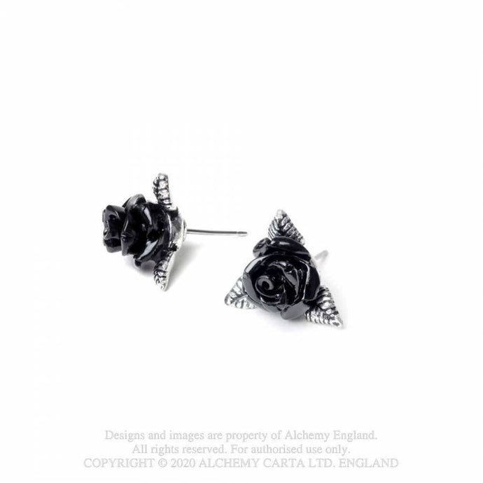 Alchemy Gothic Ring O'Roses Stud Earrings - Kate's Clothing