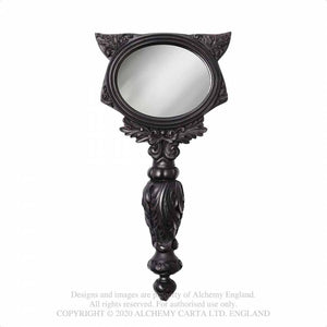 Alchemy Gothic Sacred Cat Hand Mirror - Black - Kate's Clothing