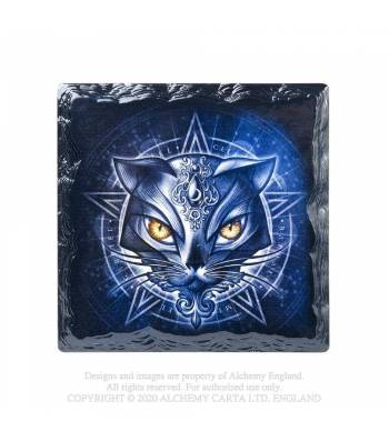 Alchemy Gothic Sacred Cat Slate Effect Coaster - Kate's Clothing