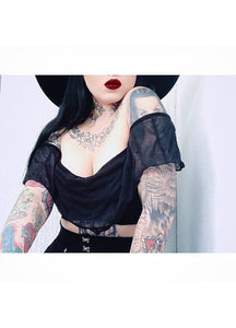 Necessary Evil Dalia Mesh Bat Wing Crop Top - Kate's Clothing