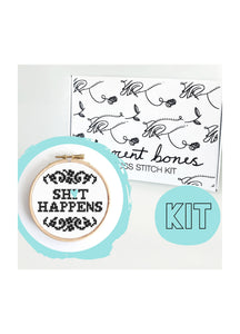 Innocent Bones Sh*t Happens Cross Stitch Kit - Kate's Clothing