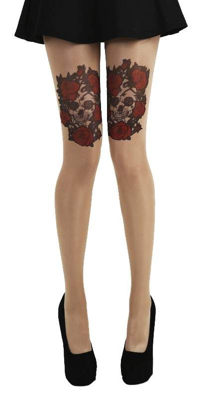Pamela Mann Plus Size Skull And Roses Gothic Tattoo Tights - Kate's Clothing