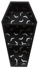 Load image into Gallery viewer, Sourpuss Bat Print Coffin Wall Shelf