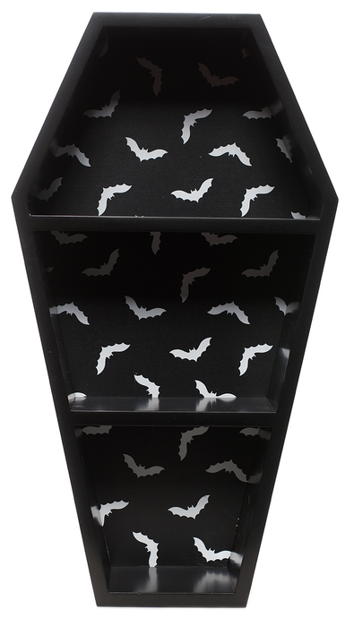 Sourpuss Bat Print Coffin Wall Shelf