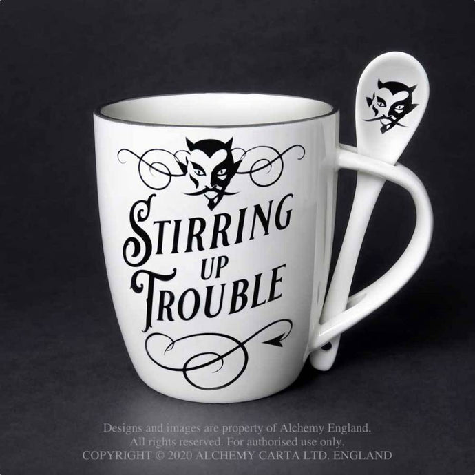Alchemy Gothic Stirring up Trouble: Mug and Spoon Set - Kate's Clothing