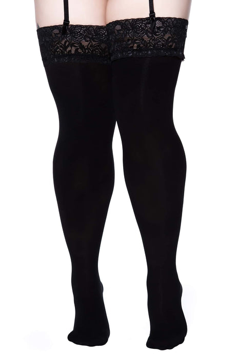 Killstar Plus Size Stop Staring Thigh High Socks - Kate's Clothing