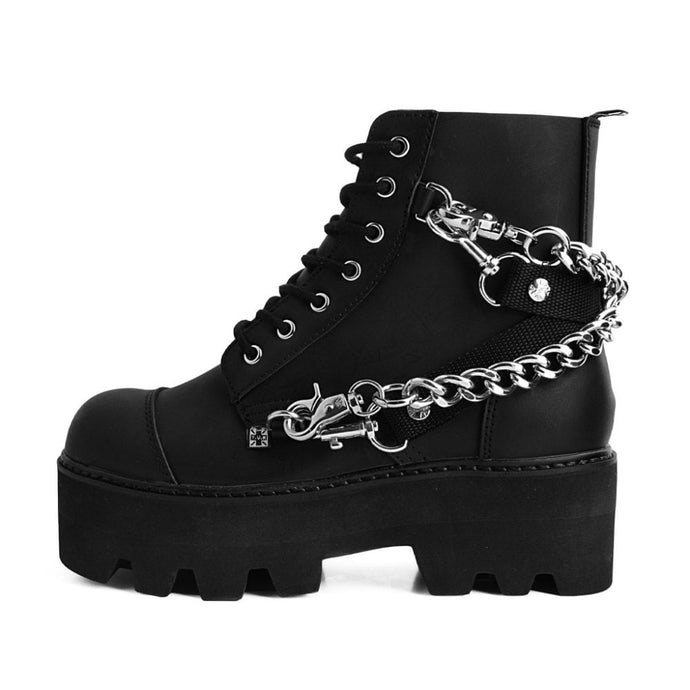 T.U.K Vegan Dino Lug Platform Boots With Chain & Bondage Strap - Kate's Clothing