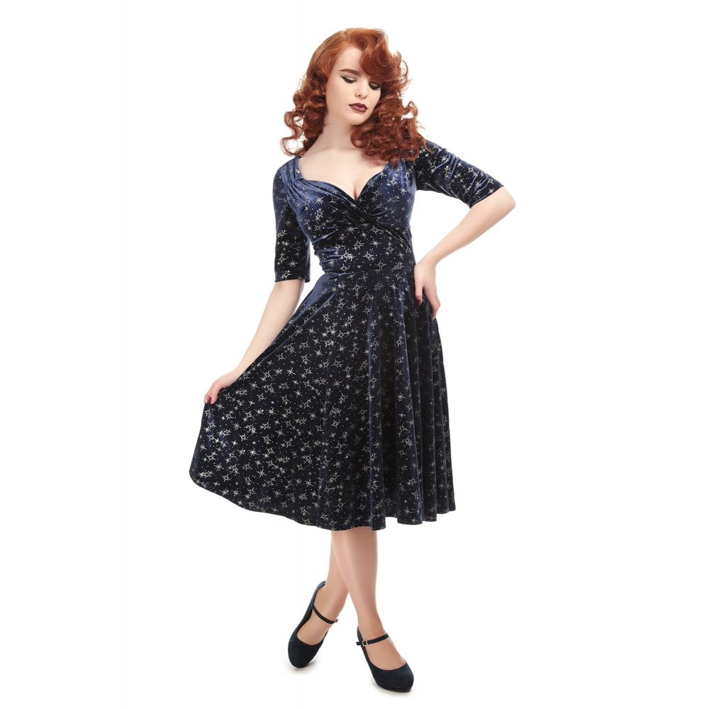 Collectif Plus Size Trixie Velvet Sparkle Doll Dress - Kate's Clothing