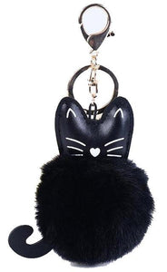 Gothic Gifts Pom-Pom Cat Key Ring - Kate's Clothing