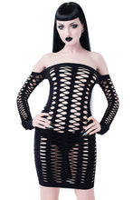 Load image into Gallery viewer, Killstar Lizzy Fishnet Dress - Kate's Clothing
