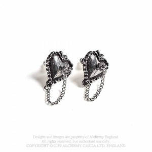 Alchemy Gothic Witches Heart Earrings - Kate's Clothing