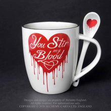 Load image into Gallery viewer, Alchemy Gothic You Stir My Blood Mug and Spoon Set