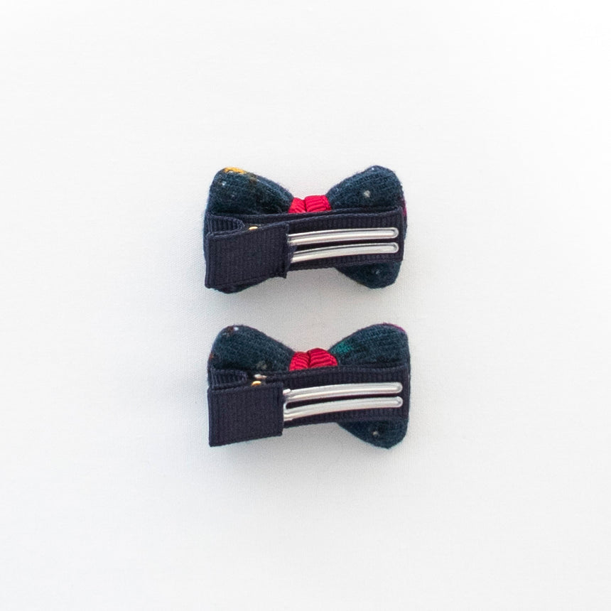 Bow Hair Clips - Navy