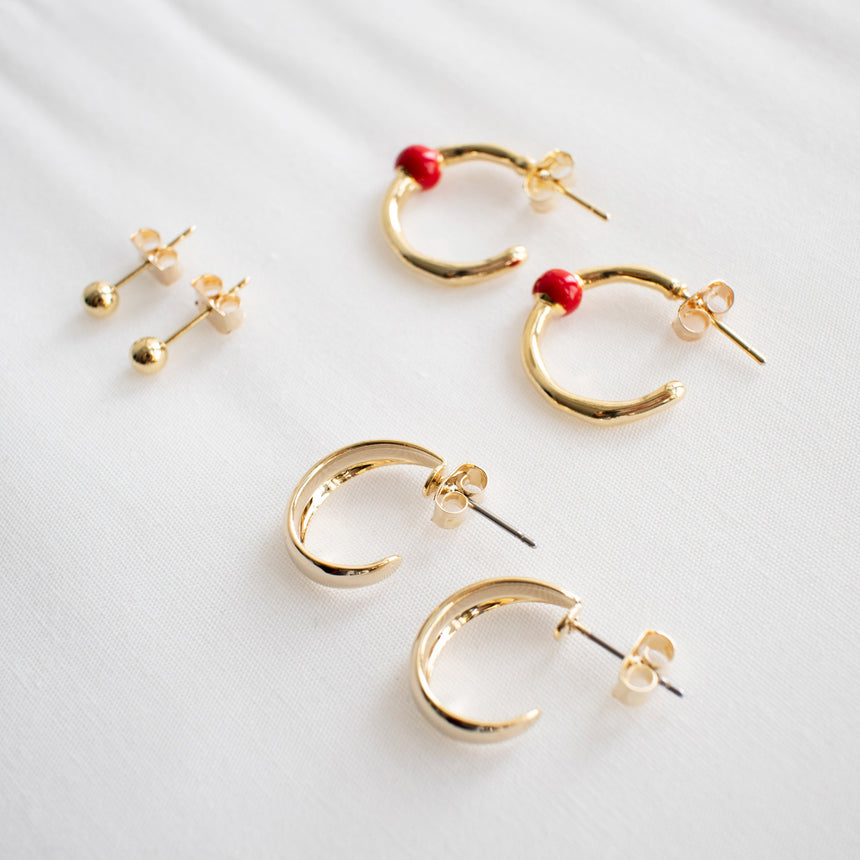 NYU Holiday Bubble Earrings - Red