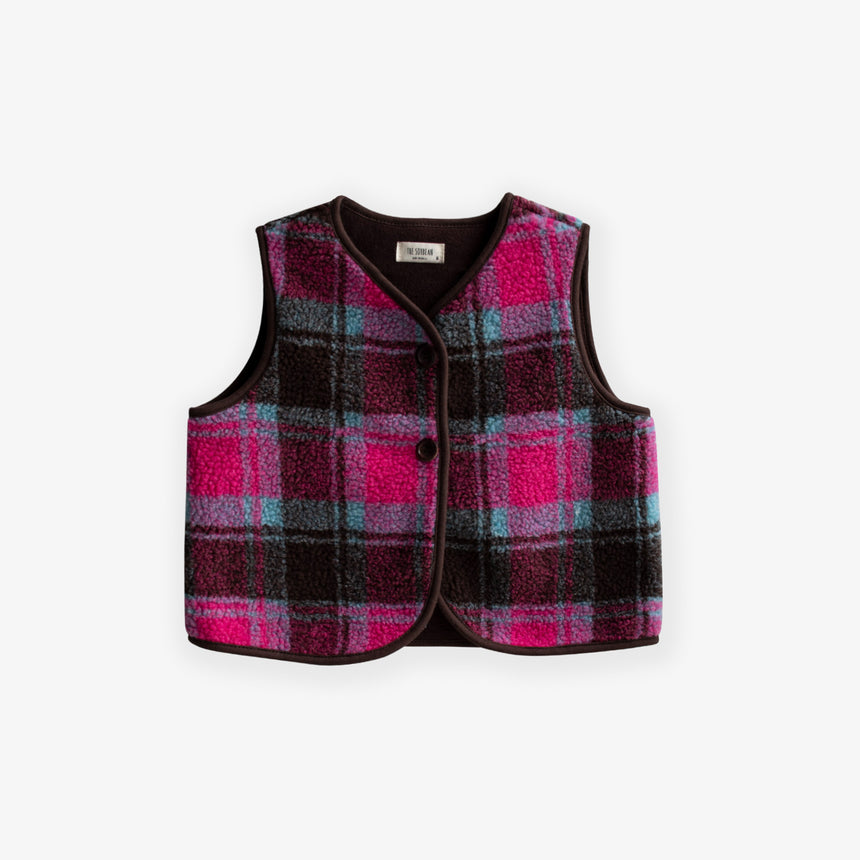 Point Check Vest - Hot Pink