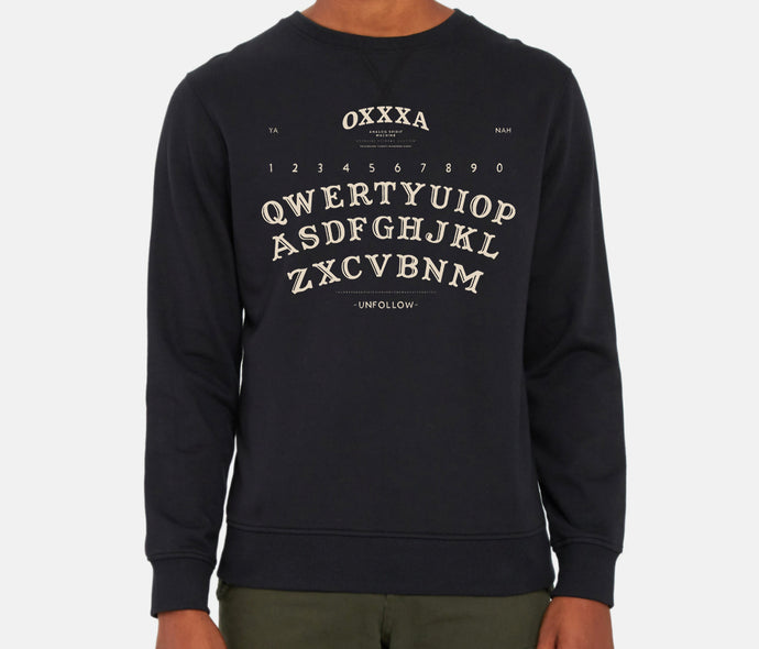OXXXA Board - Black Crewneck Sweatshirt With Cream Ink